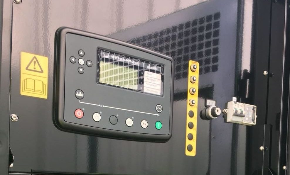Control panel on a backup diesel generator