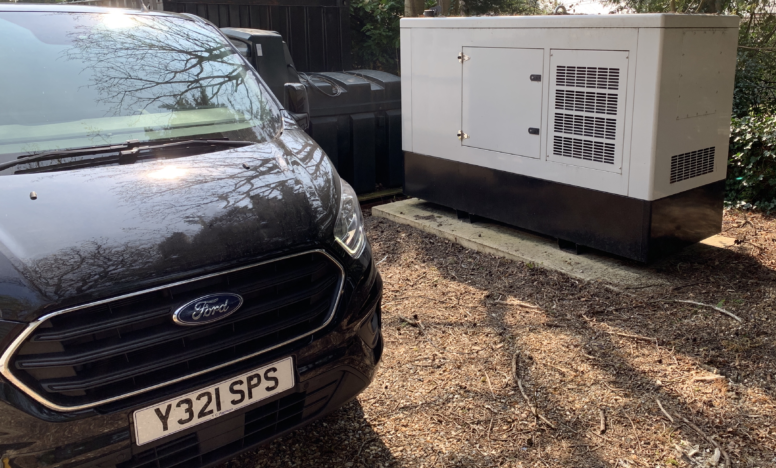 Standby Power Solutions Servicing van carrying out work on a diesel generator installation.